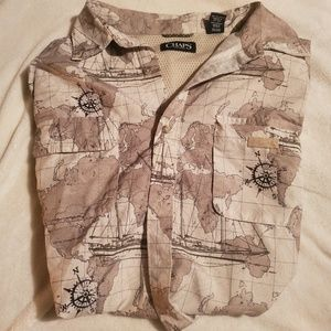 Vintage Map Print Short Sleeve Button-up